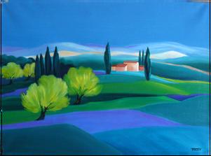 Mimosas dans le Var - Peinture à l'huile - Faccio
