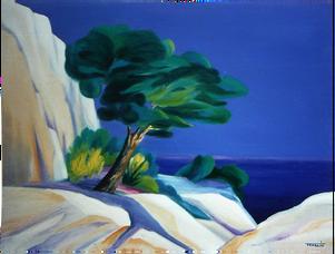 La Cote d'Azur - Peinture à l'huile par Faccio